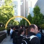 Line for Apple's party on Thursday